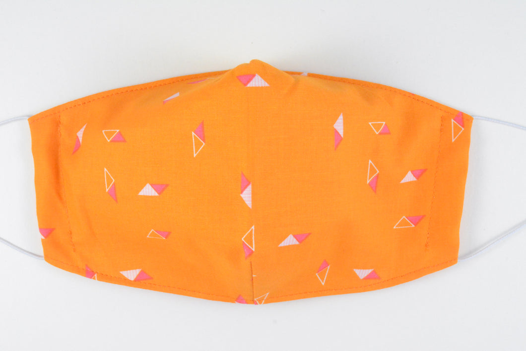 Face mask - size medium (Orange geometric)