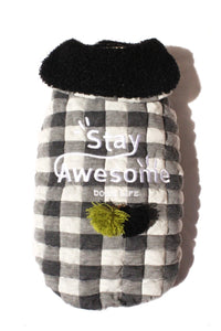 Stay Awesome Checkered Cape Black