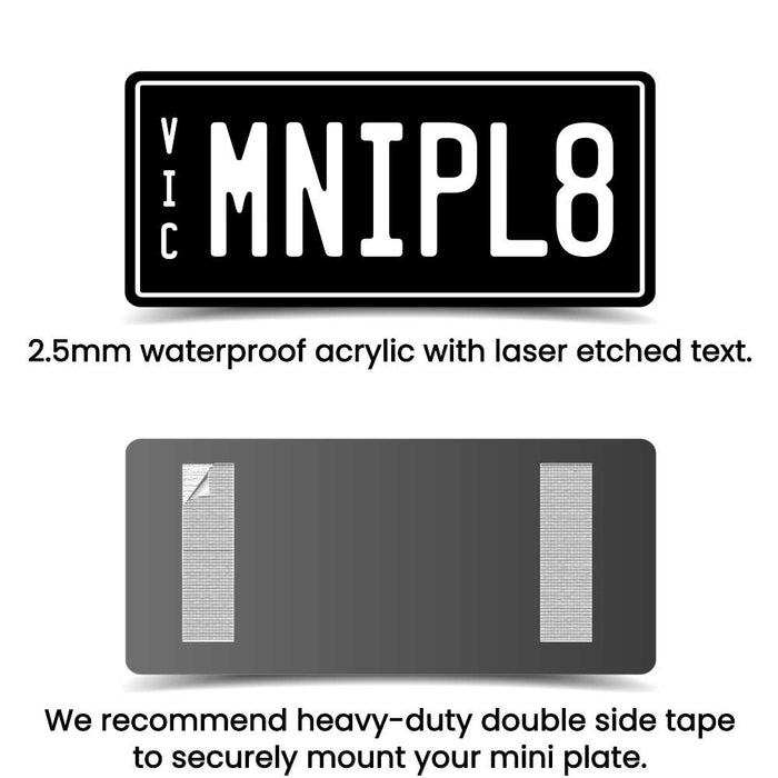 PVC Laser Etched Waterproof Custom Personalised Ride On Mini Number Plate