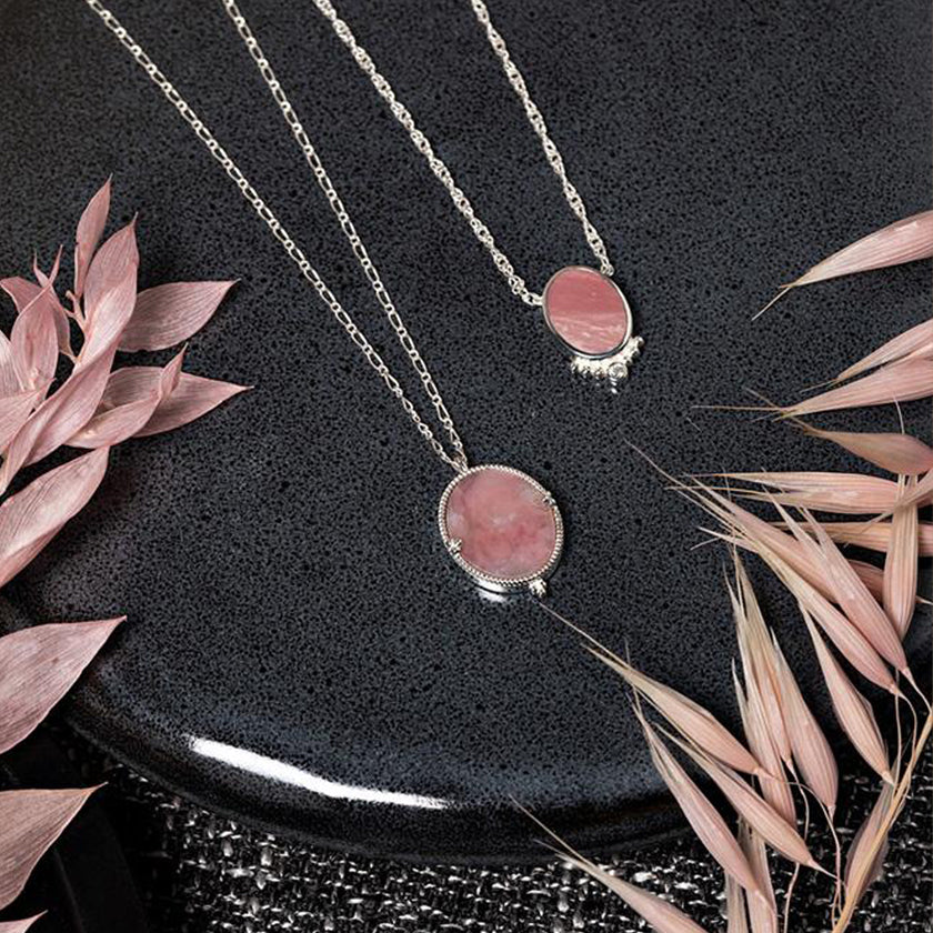 Collier Sophie Opale Rose Argent.