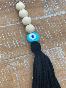 Evil Eye Wood Bead Colored Tassels