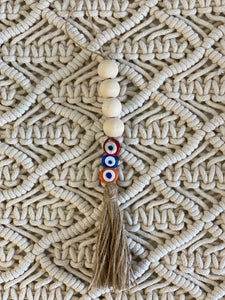 Red Blue and Orange, Evil Eye Wood Tassel