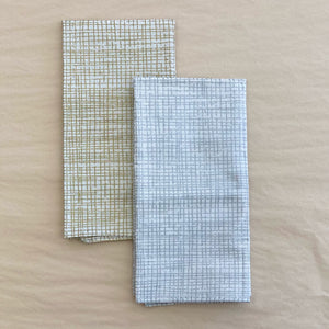 Metallic Crosshatch Print Napkins