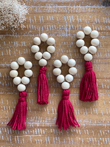 Wood Bead Tassel Napkin Rings, Cherry, set of 4