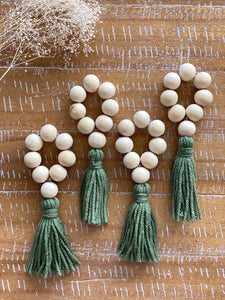 Wood Bead Tassel Napkin Rings, Moss, set of 4