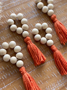 Wood Bead Tassel Napkin Rings, Papaya, set of 4