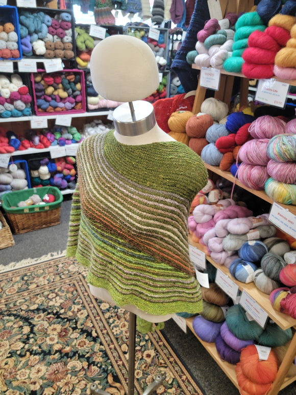 Striped Green Shawl Color Affection-Nancy's Alterations and Yarn Shop