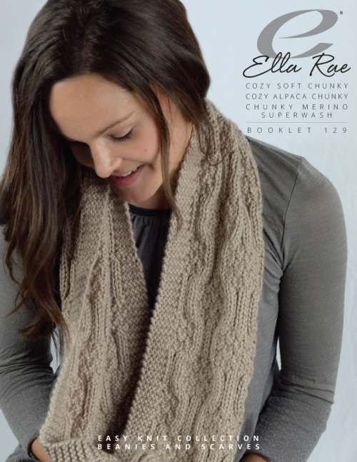 Ella Rae Booklet 129 Easy Knit Collection Beanies & Scarves (Chunky)
