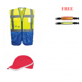 Portwest PROMO2 Warsaw Executive Vest + Vent Cool Bump Cap + FREE Illuminated Flashing Armband