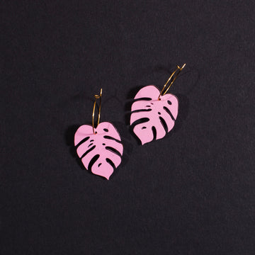 Pink Monstera Hoop Earrings