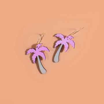 Pink Palm Tree Hoop Earrings