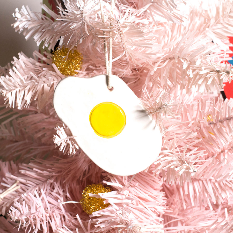 Fried Egg Ceramic Ornament
