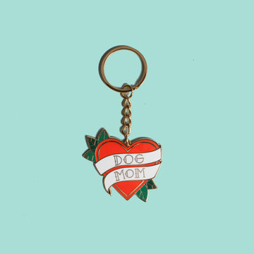 Dog Mom Tattoo Heart Keychain
