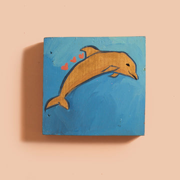 Golden Dolphin Painting
