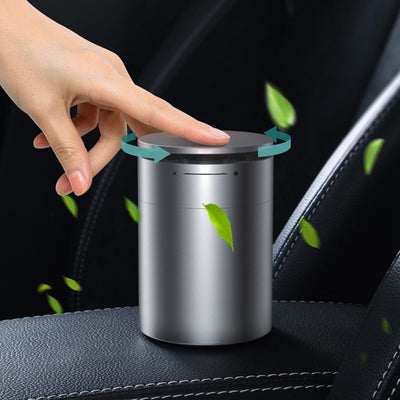 a person using the air purifier in car
