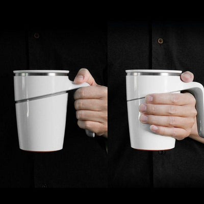 a person holding the mug