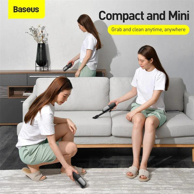 girls cleaning the house with mini vacuum cleaner