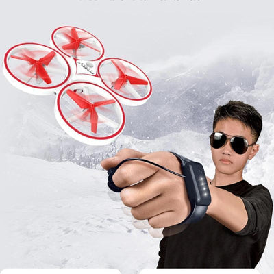 a boy flying the hand controlled drone