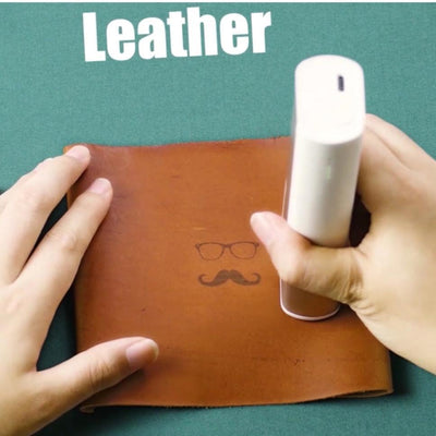using handheld printer on leather