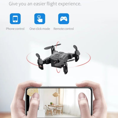 Mini drone being controlled by smartphone