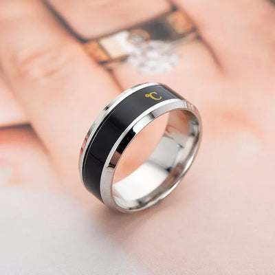smart ring showing temperature