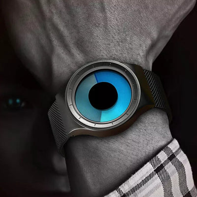 a man with blue eyes wearing the cool watch