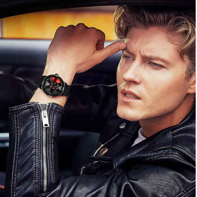 a boy in leather jacket wearing the unique watch