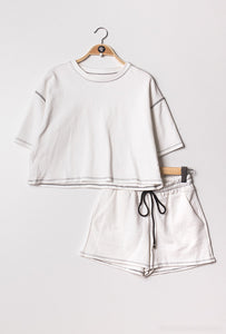 White with Black Trim Shorts Loungewear Set