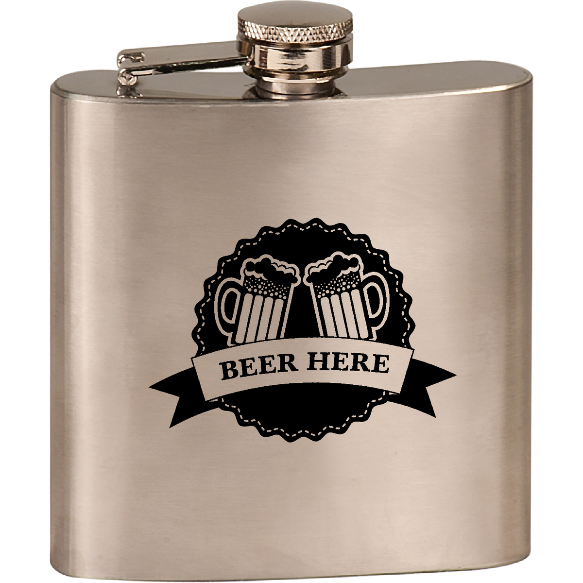 Beer Here - 6oz. Engraved Flask