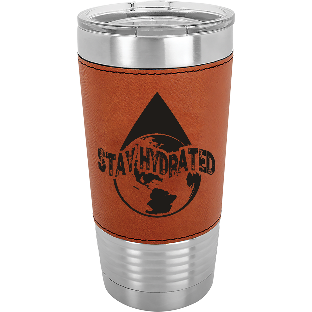 Stay Hydrated - 20oz. Leatherette Tumber with Clear Lid
