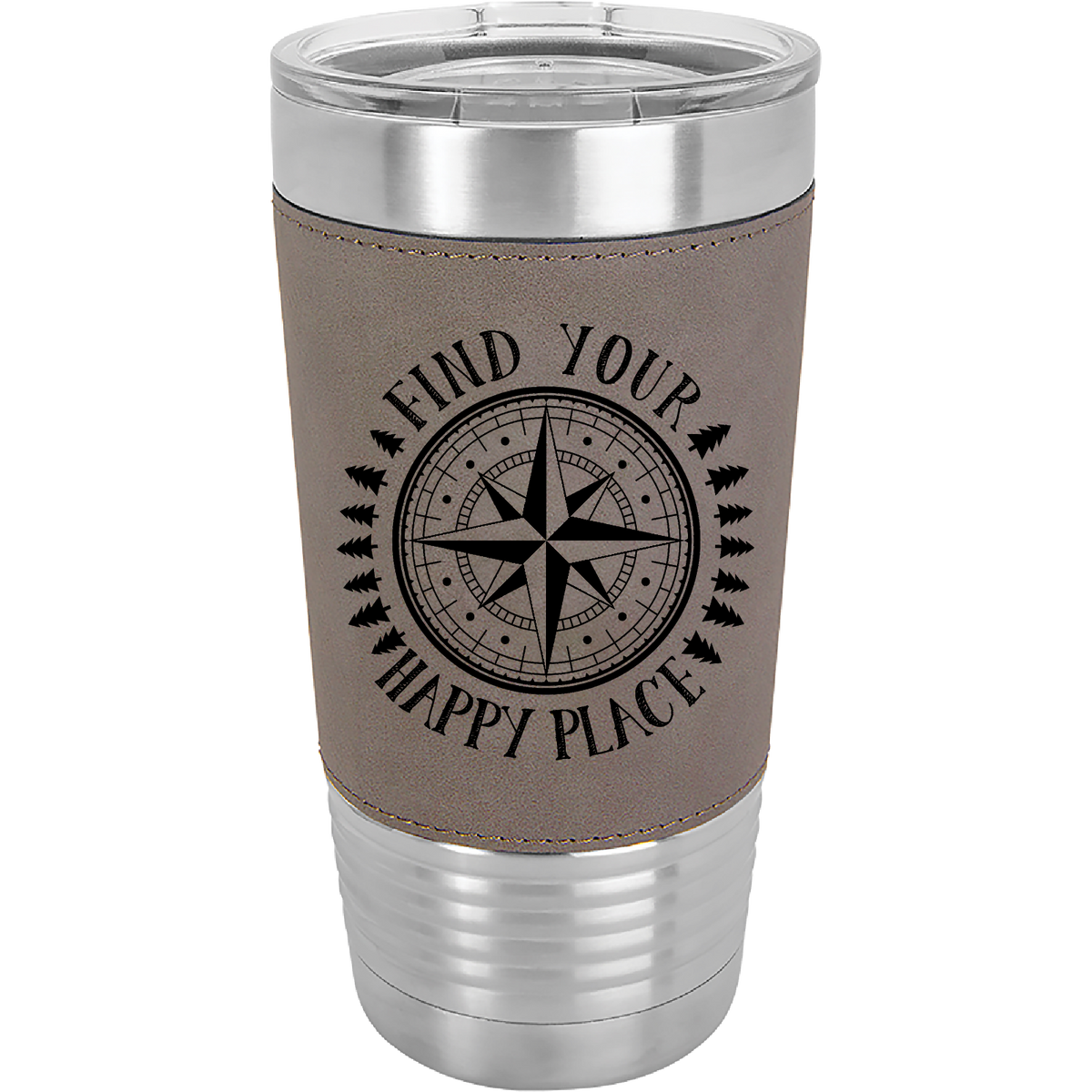 Find Your Happy Place - 20oz. Leatherette Tumber with Clear Lid