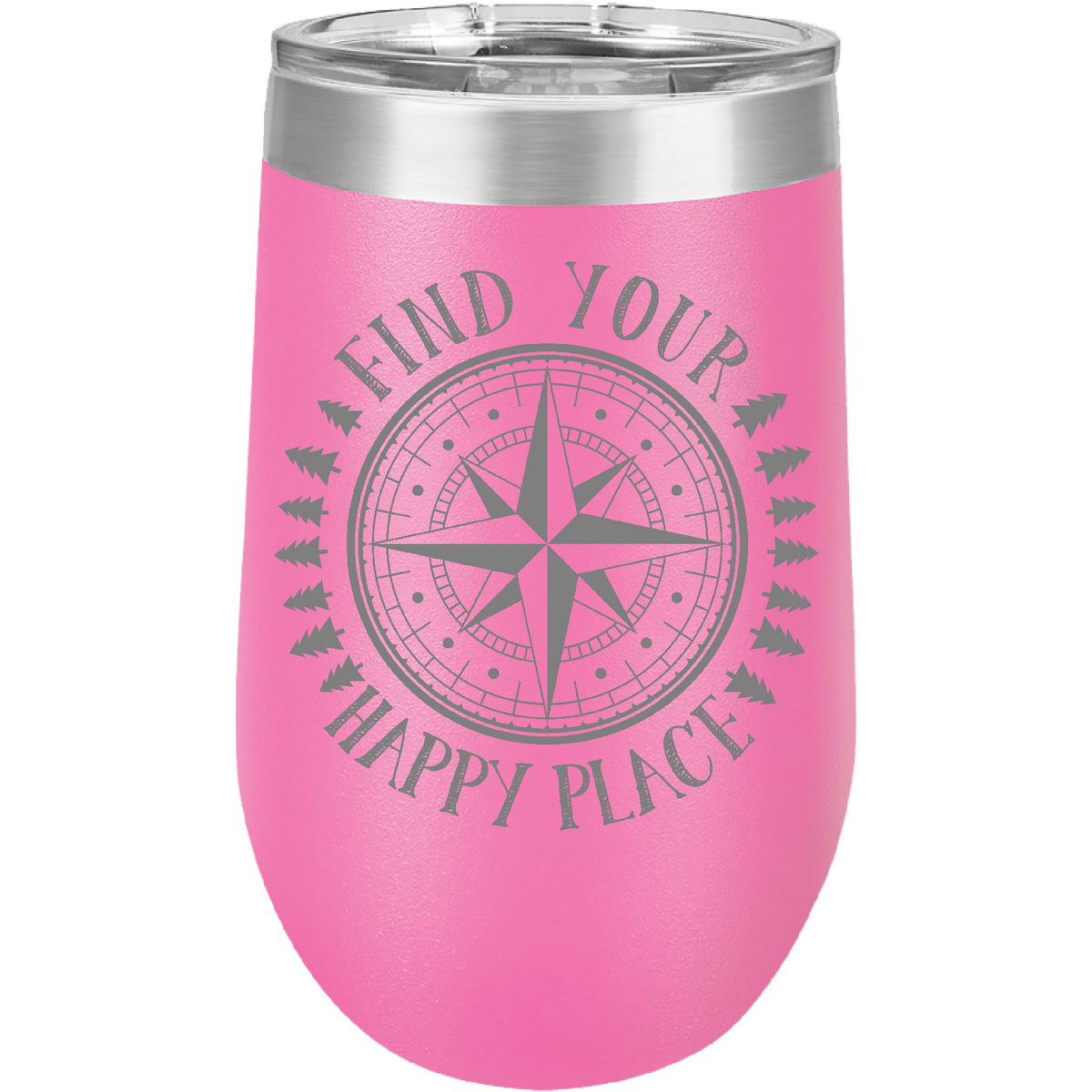 Find Your Happy Place - 16oz. Engraved Stemless Wine Tumbler with Clear Lid