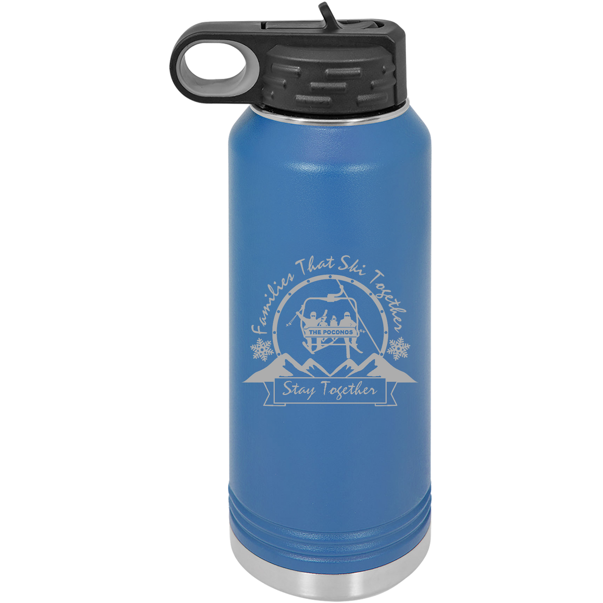 Families that Ski Together Stay Together - 32oz. Engraved Water Bottle with Flip Lid & Straw