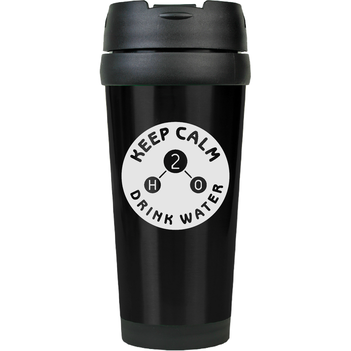 Keep Calm and Drink WATER - 16oz. Engraved Travel Mug with Flip Lid