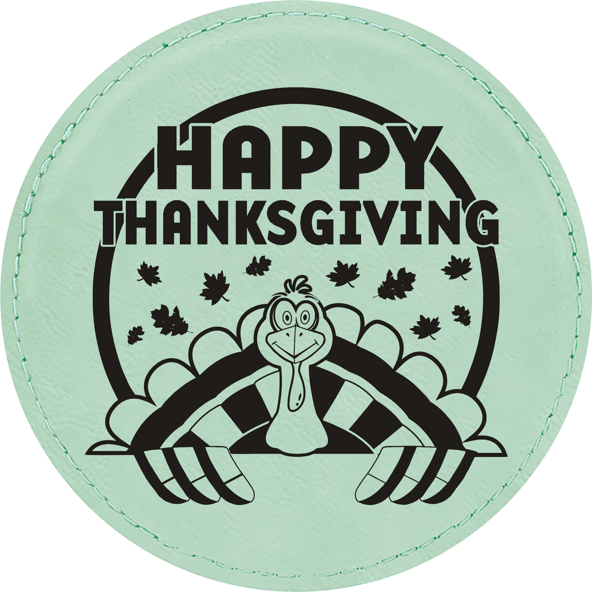 Happy Thanksgiving - Leatherette Round Coasters (Set of 6)