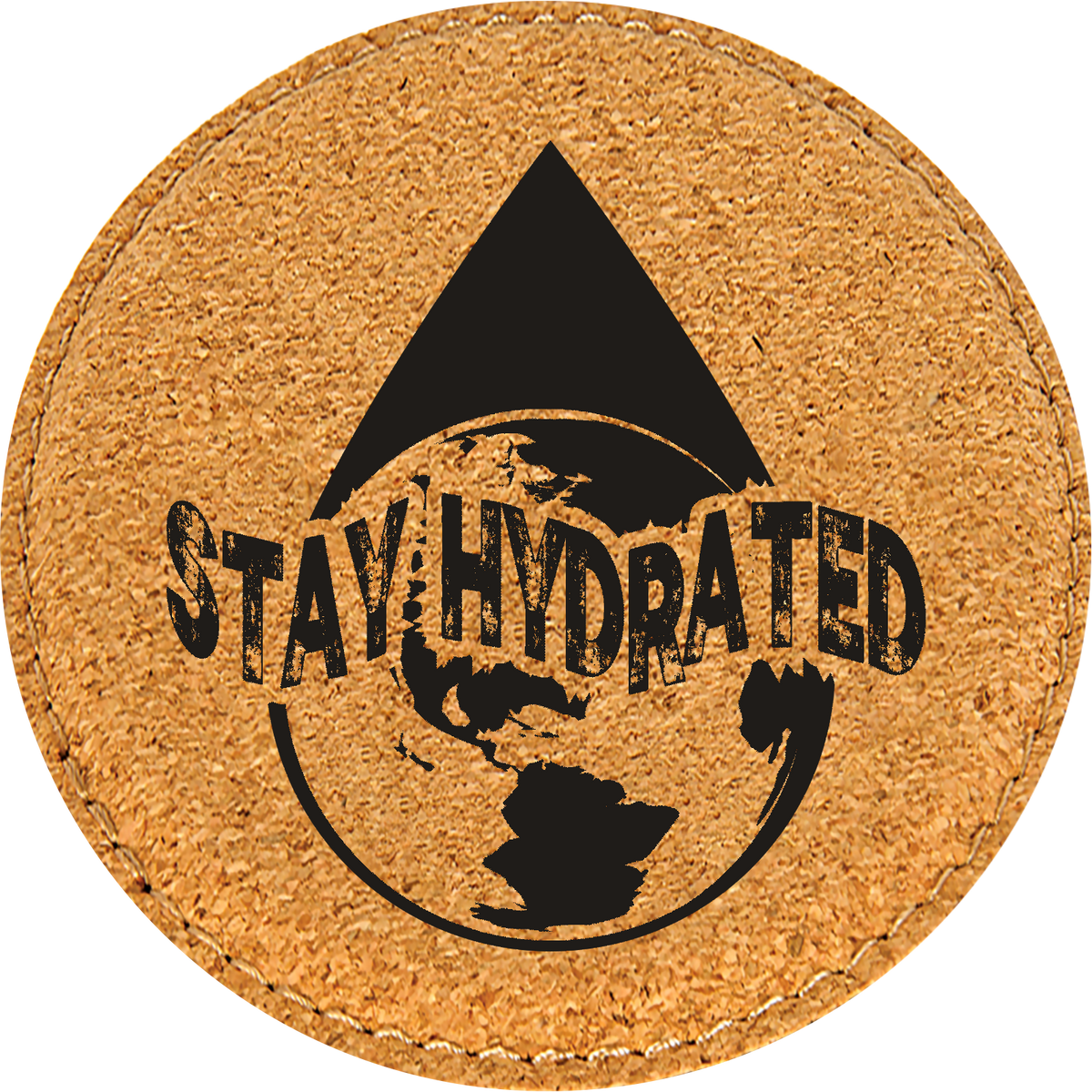 Stay Hydrated - Leatherette Round Coasters (Set of 6)