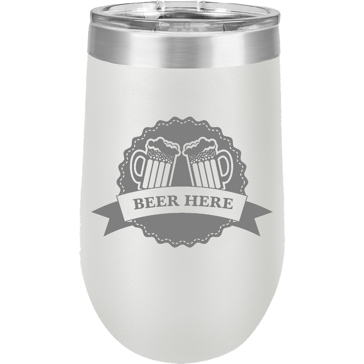 Beer Here - 16oz. Engraved Stemless Wine Tumbler with Clear Lid