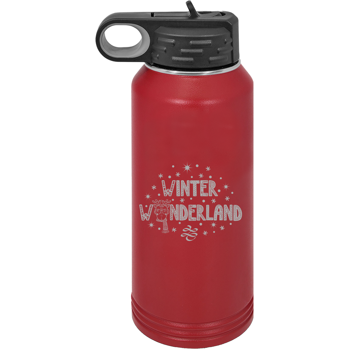 Winter Wonderland - 32oz. Engraved Water Bottle with Flip Lid & Straw