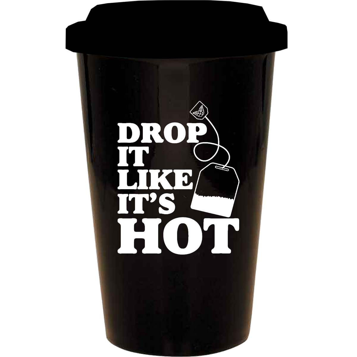 Drop it like it's hot (tea bag) - 14oz. Engraved Tall Ceramic Mug With Silicone Lid