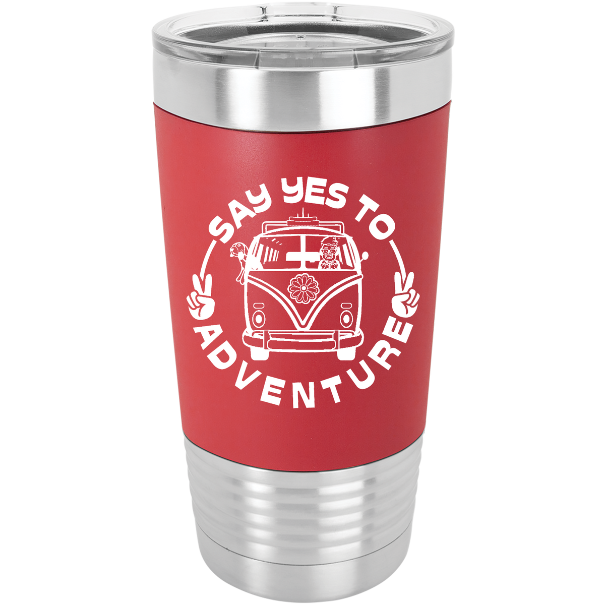 Say Yes To Adventure - 20oz. Silicone Grip Tumbler with Clear Lid
