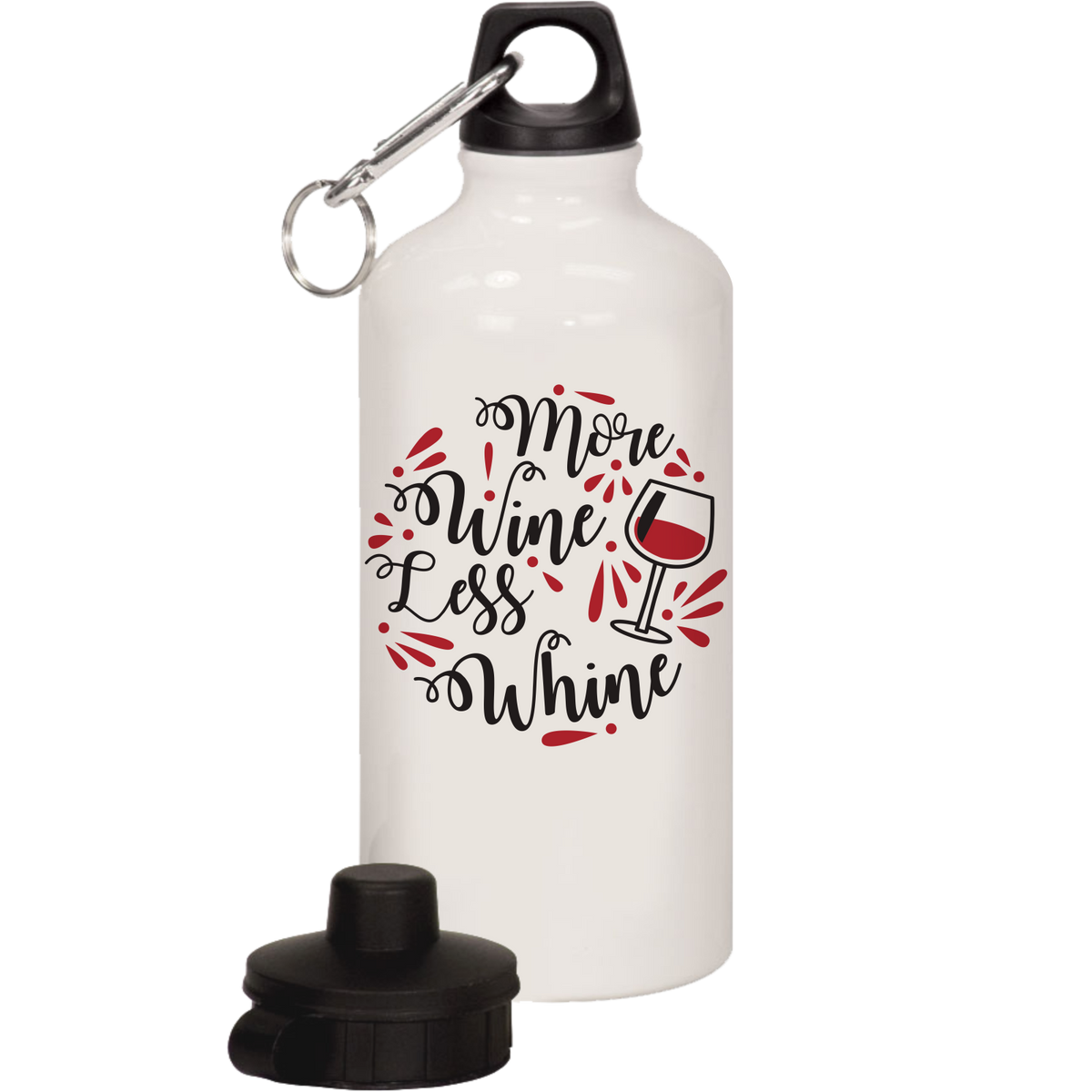 More wine less whine - 20oz. Water Bottle with Interchangeable Lids