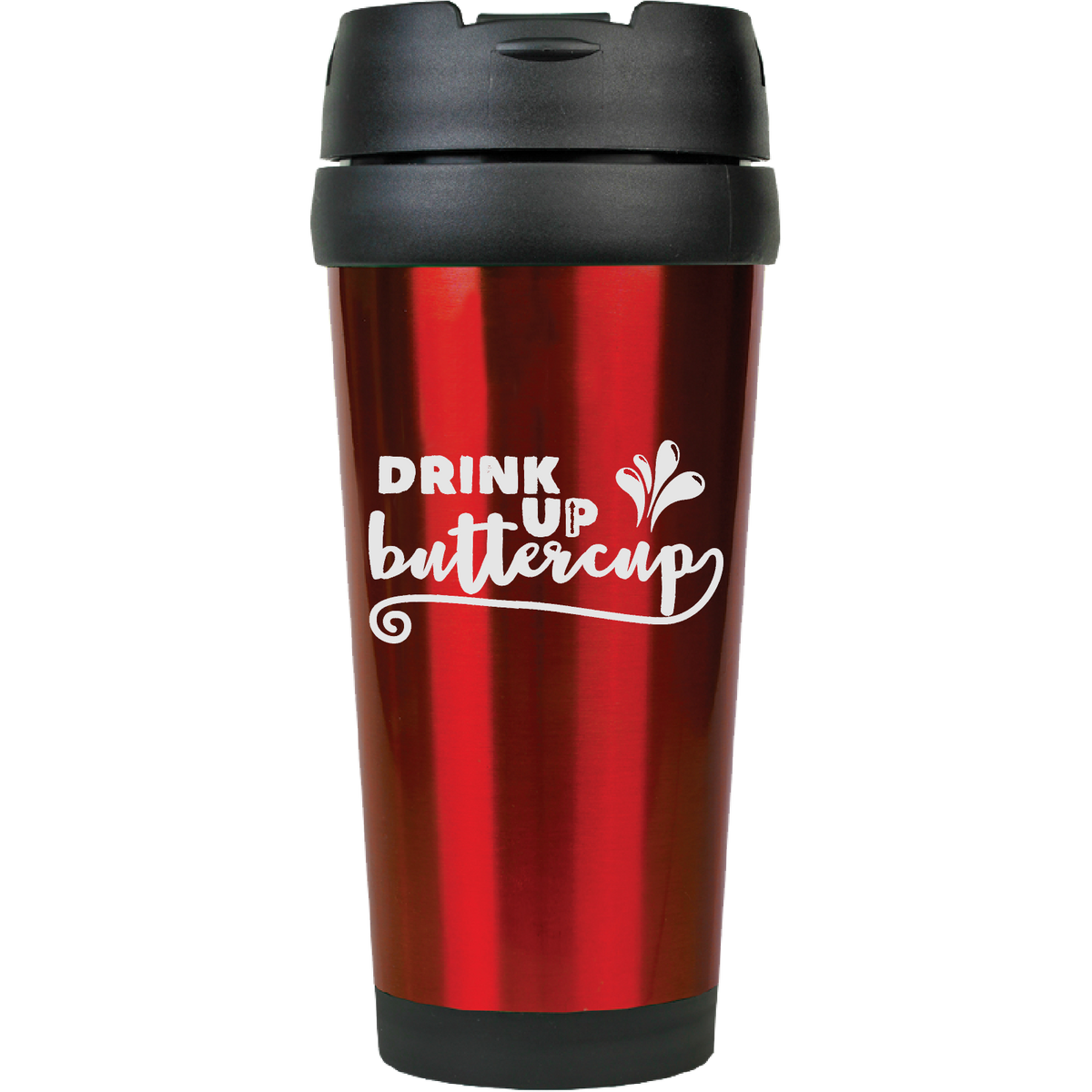 Drink up buttercup - 16oz. Engraved Travel Mug with Flip Lid