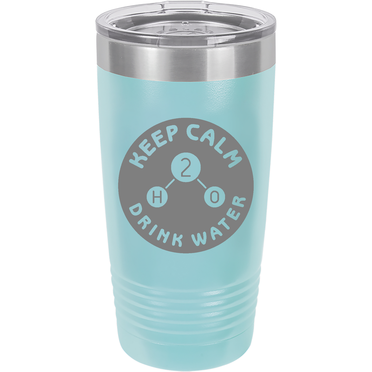 Keep Calm and Drink WATER - 20oz. Engraved Tumbler with Clear Lid