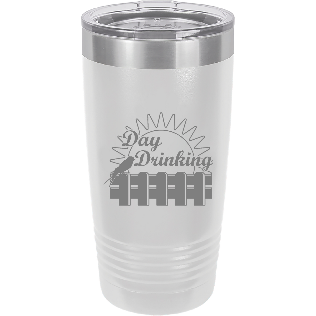 Day drinking - 20oz. Engraved Tumbler with Clear Lid