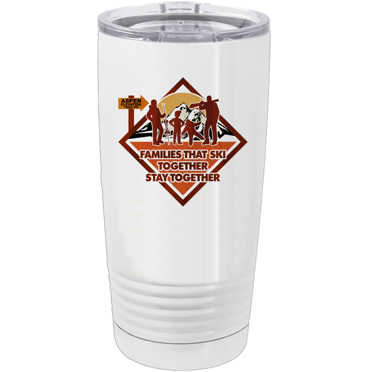 Families that Ski Together Stay Together - 20oz. Tumbler with Clear Lid