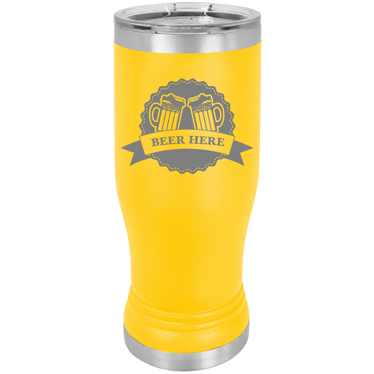 Beer Here - 20oz. Engraved Pilsner with Clear Lid