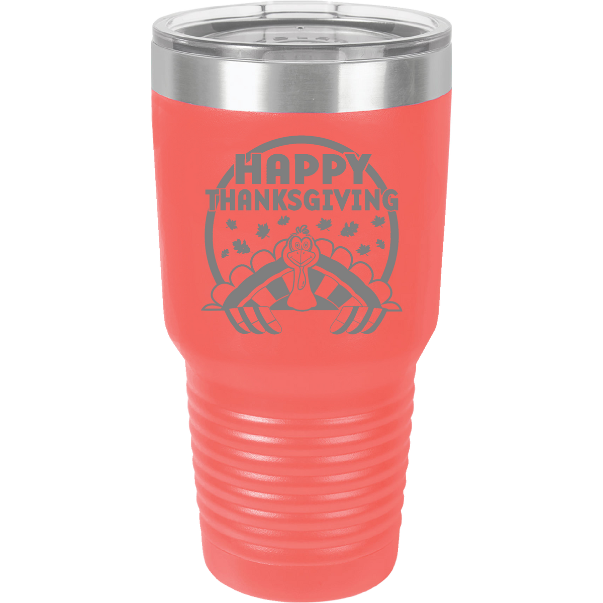 Happy Thanksgiving - 30oz. Engraved Tumbler with Clear Lid