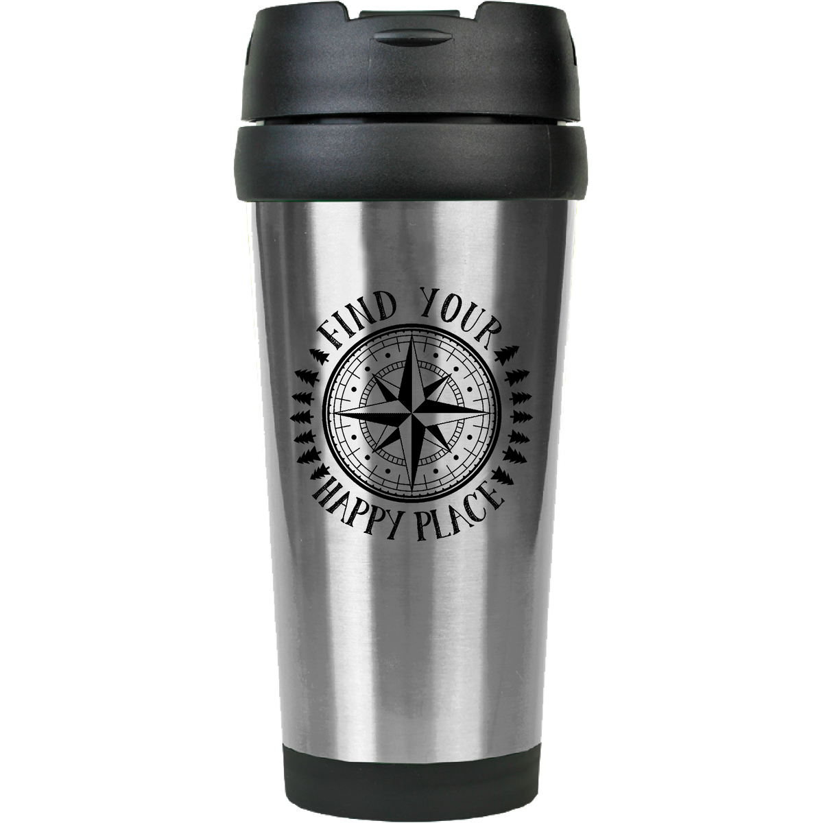 Find Your Happy Place - 16oz. Engraved Travel Mug with Flip Lid