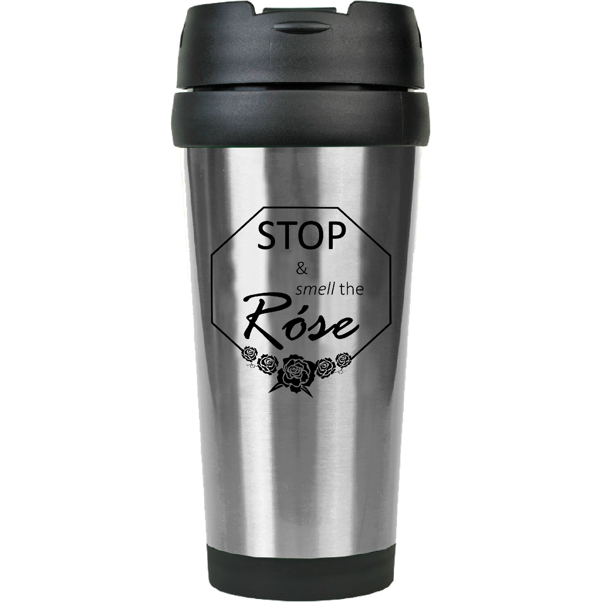 Stop and smell the Rose - 16oz. Engraved Travel Mug with Flip Lid