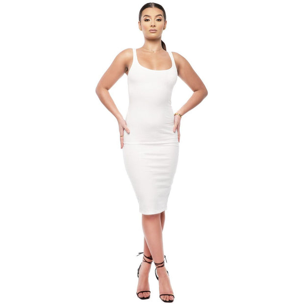 Ashley White Round Neck Dress